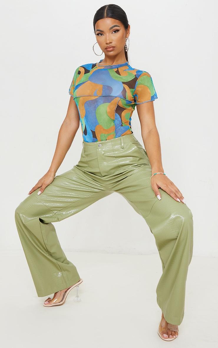 Blue Mesh High Neck Contrast Seam Short Sleeve Bodysuit 3