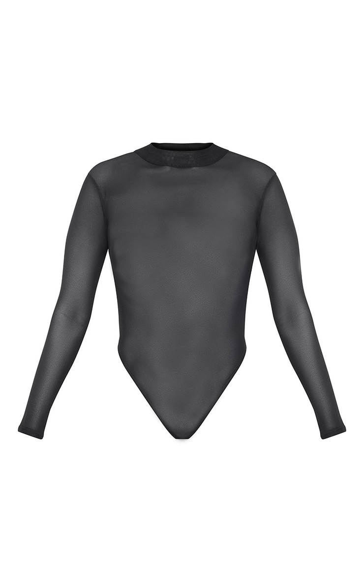 Petite Black Long Sleeve Mesh Body 3