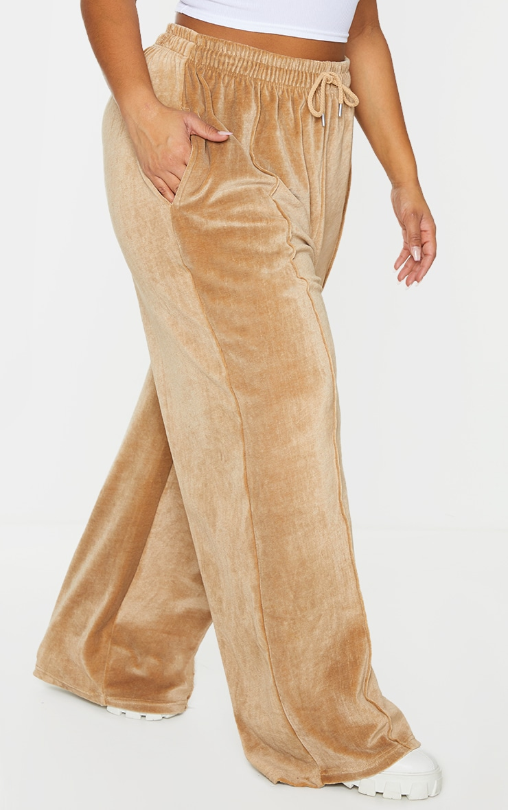 Plus Stone Towelling Wide Leg Joggers 2