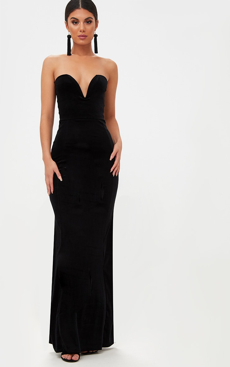 Black Strapless V Plunge Maxi Dress  1