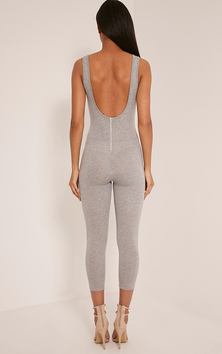 Katie Grey Scoop Back Fitted Cropped Leg Jumpsuit 2