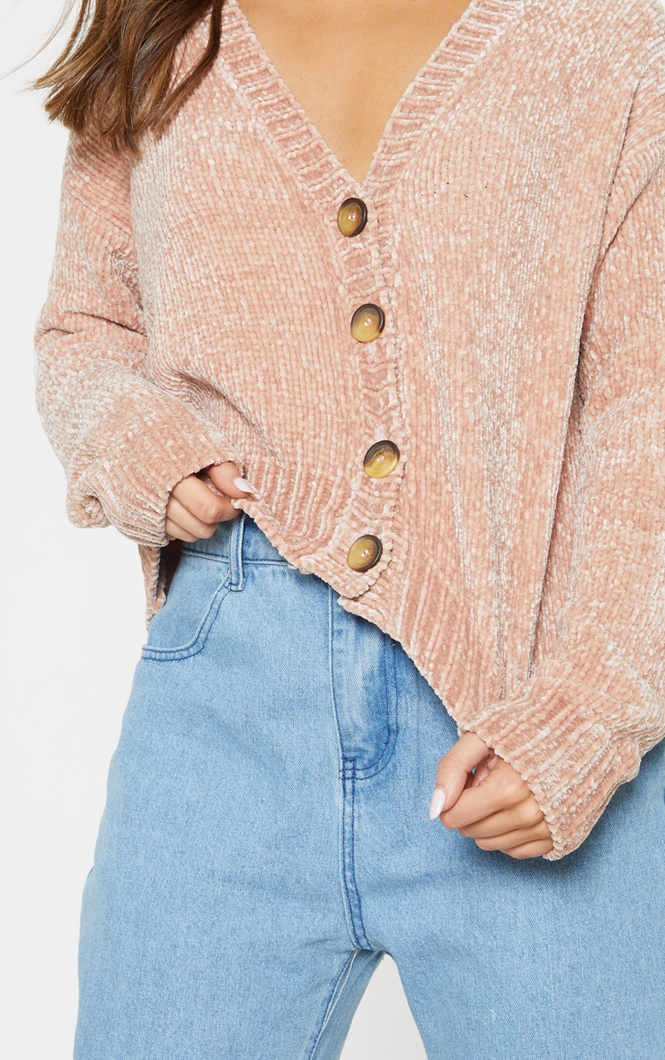 Rose Gold Chenille Knitted Cardigan 5