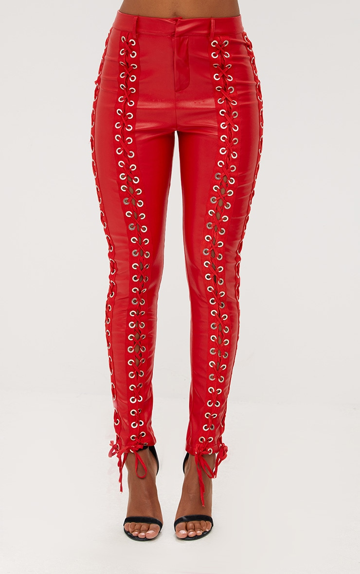 Red Faux Leather Lace Up Skinny Trousers 2
