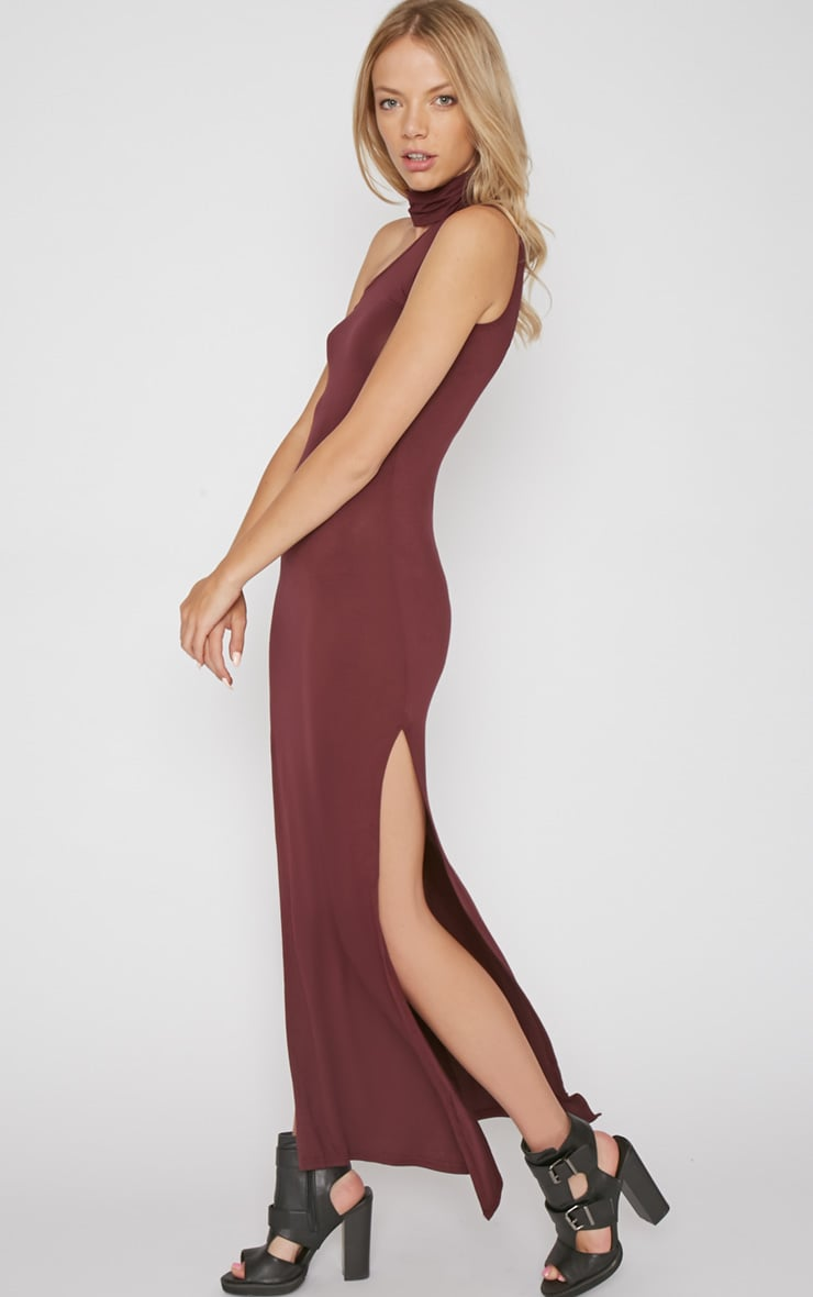 Jennifer Burgundy Thigh Split Maxi Dress 4