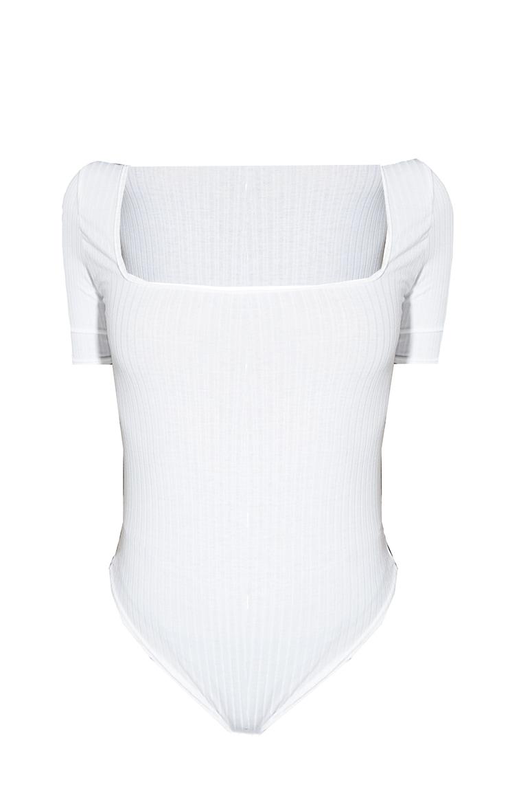 White Wide Rib Square Neck Short Sleeve Bodysuit 5