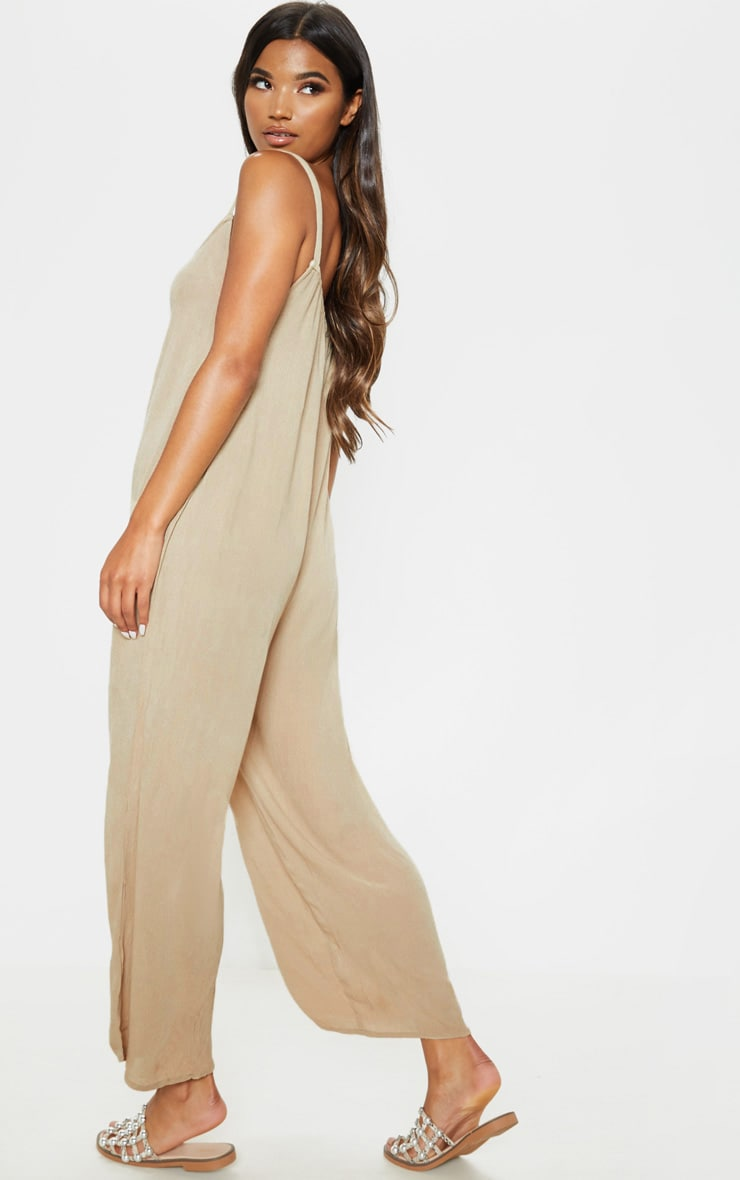Stone Woven Culotte Slouchy Jumpsuit 2