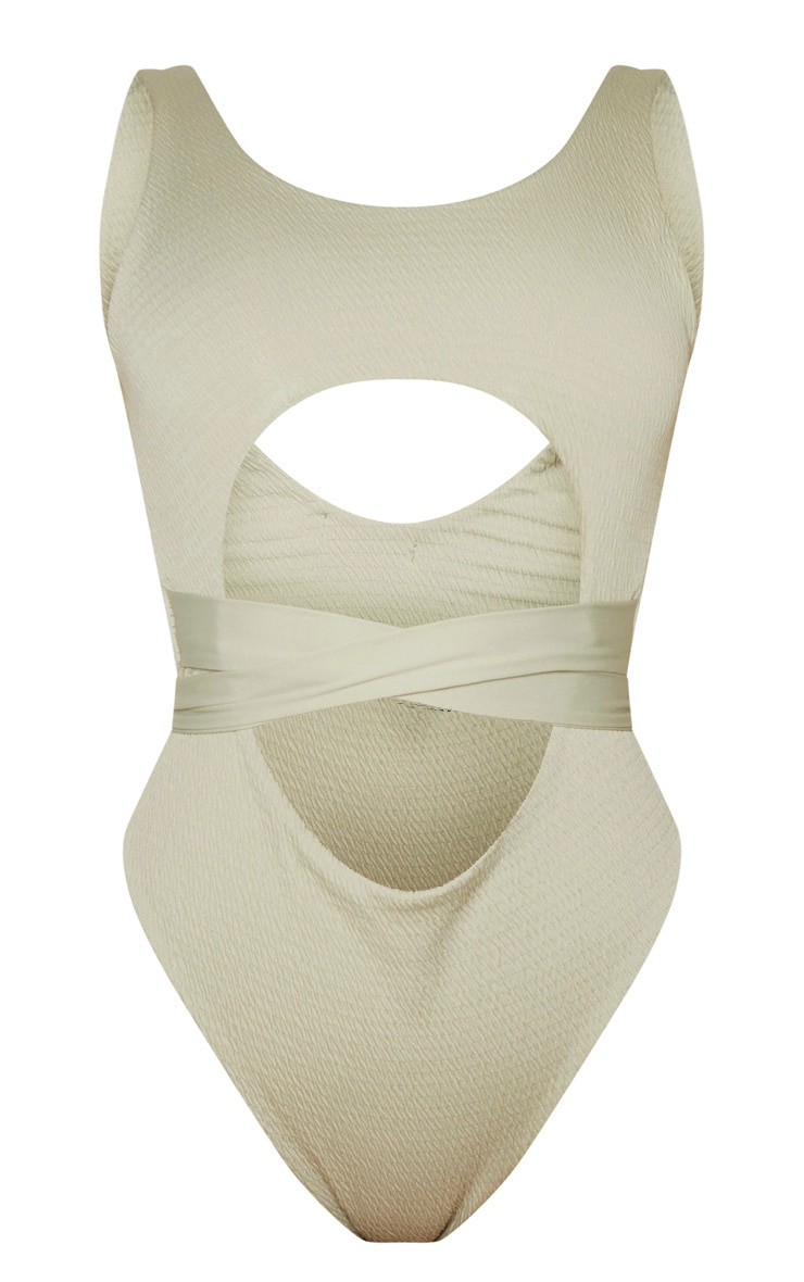 Soft Olive Crinkle Cut Out Belted Swimsuit 5