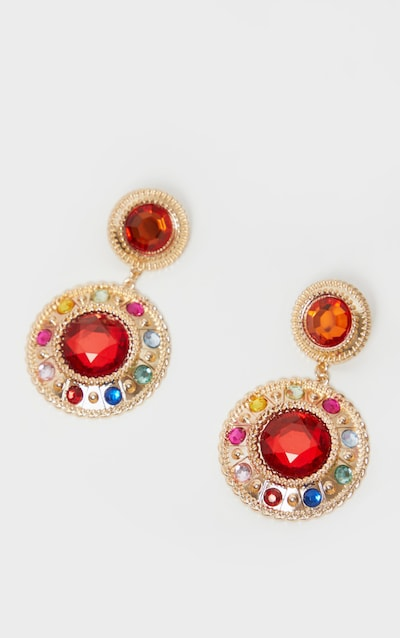 Red Gemstone Stud Circle Drop Earring