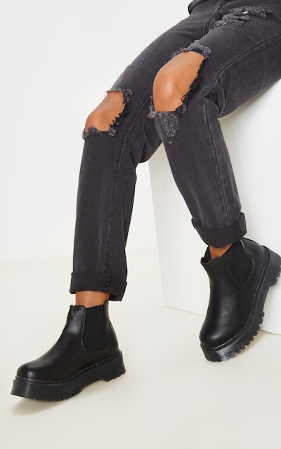 Black Wide Fit Chunky Sole Chelsea Ankle Boot