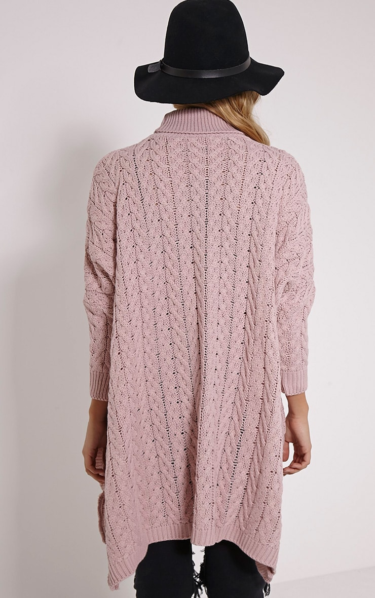 Juju Dusty Pink Cable Knit Oversized Jumper 2