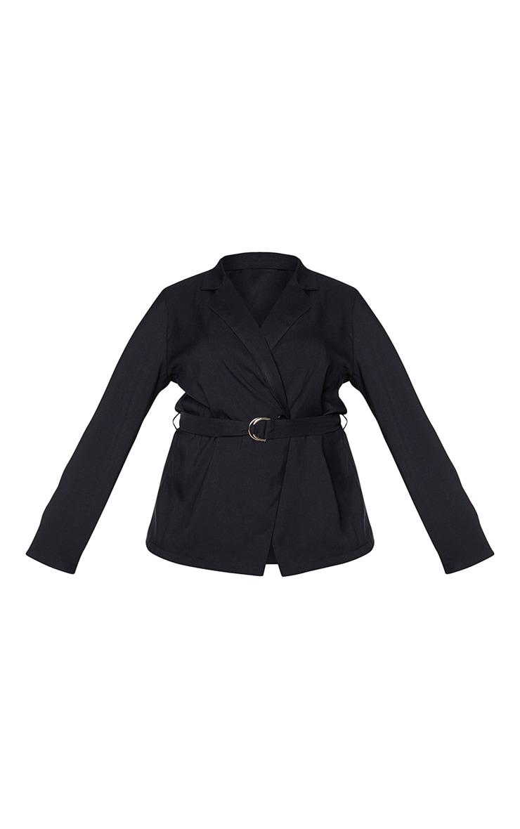 Plus Black Woven Belt Detailed Blazer 5