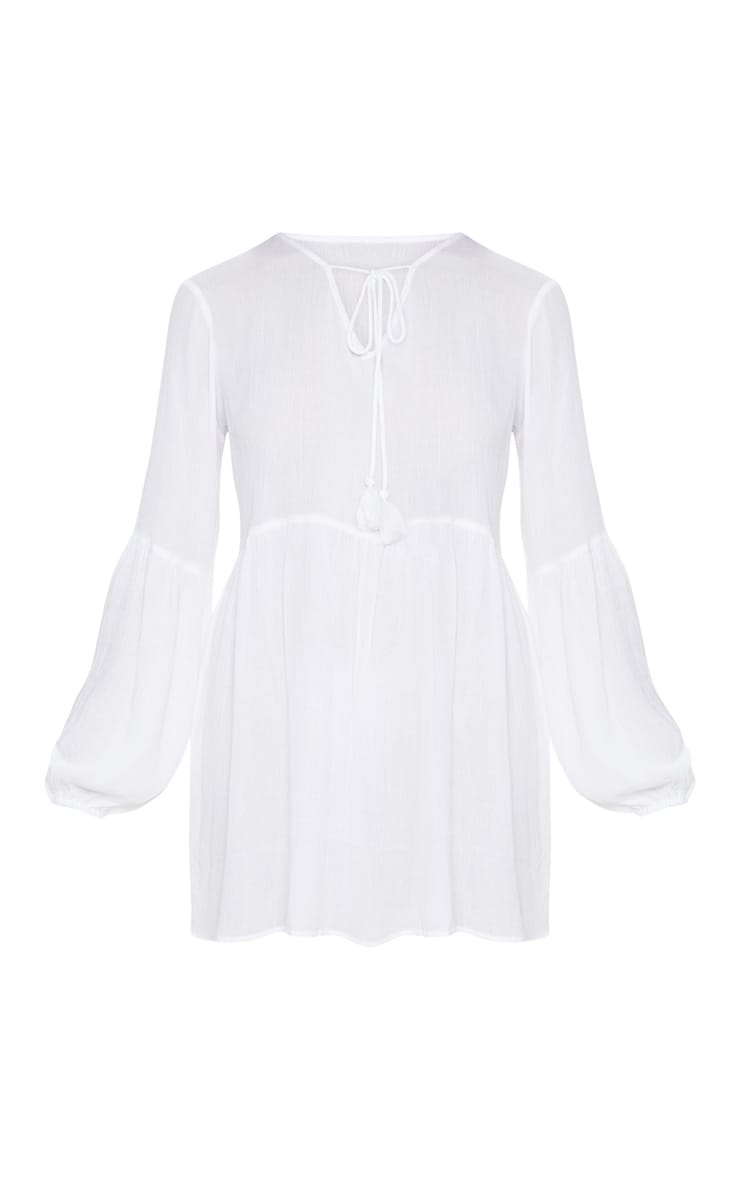 White Puff Sleeve Tie Detail Smock Dress 3