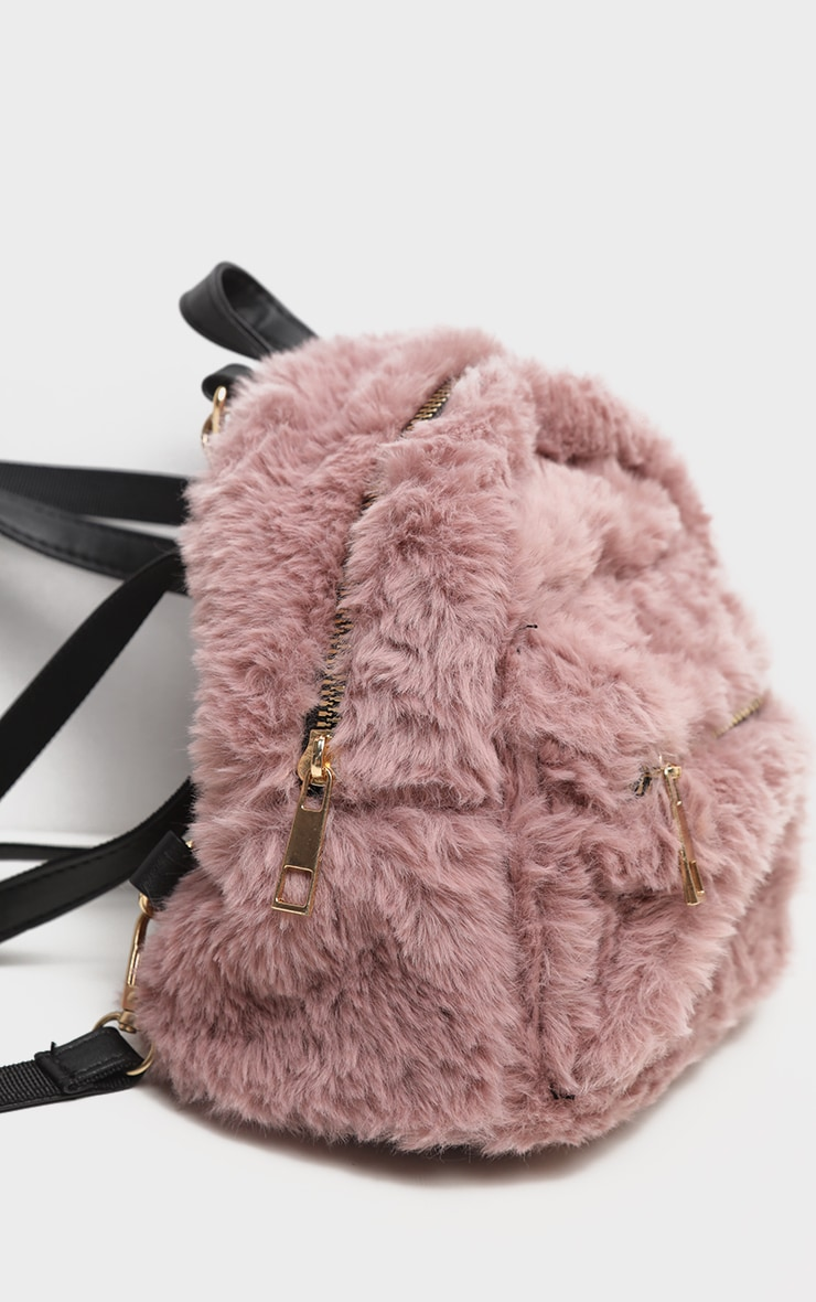 Dusty Lilac Faux Fur Mini Back Pack 4