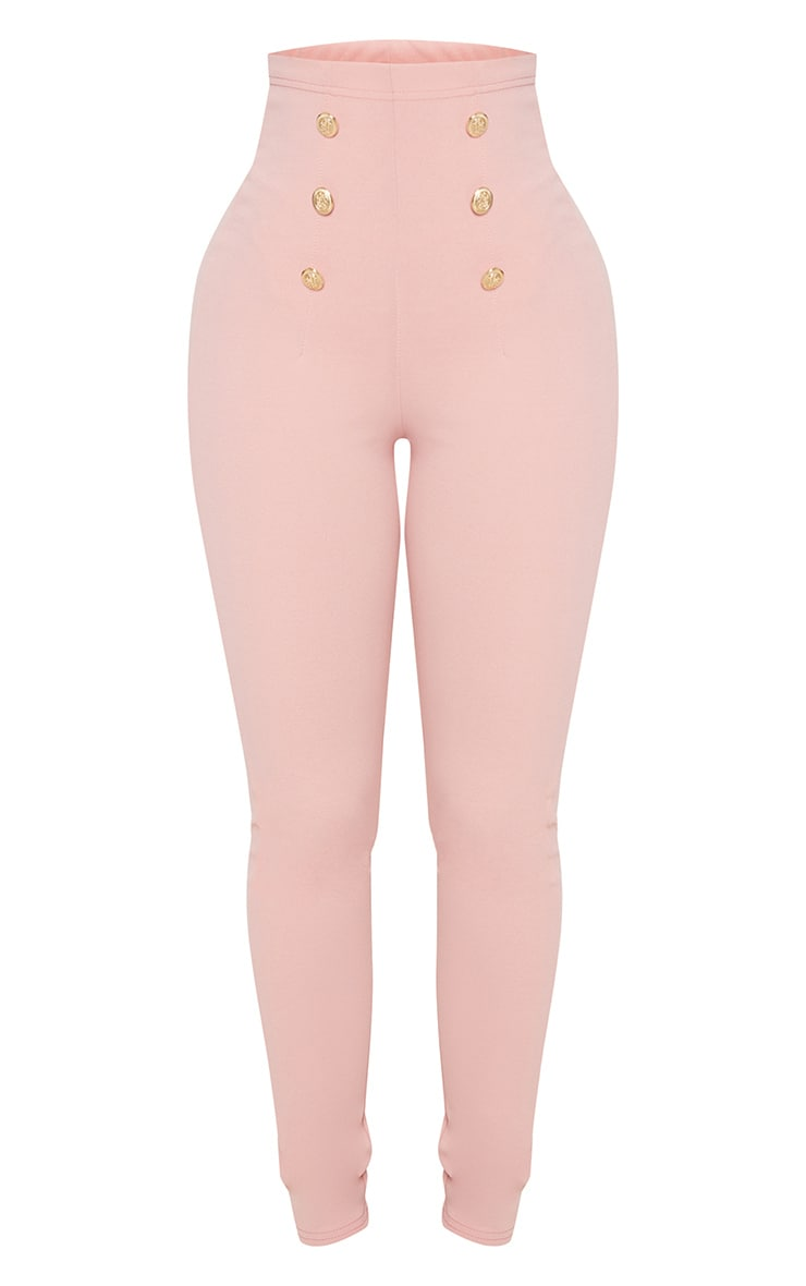 Shape Dusty Pink Military Button Skinny Trousers 3