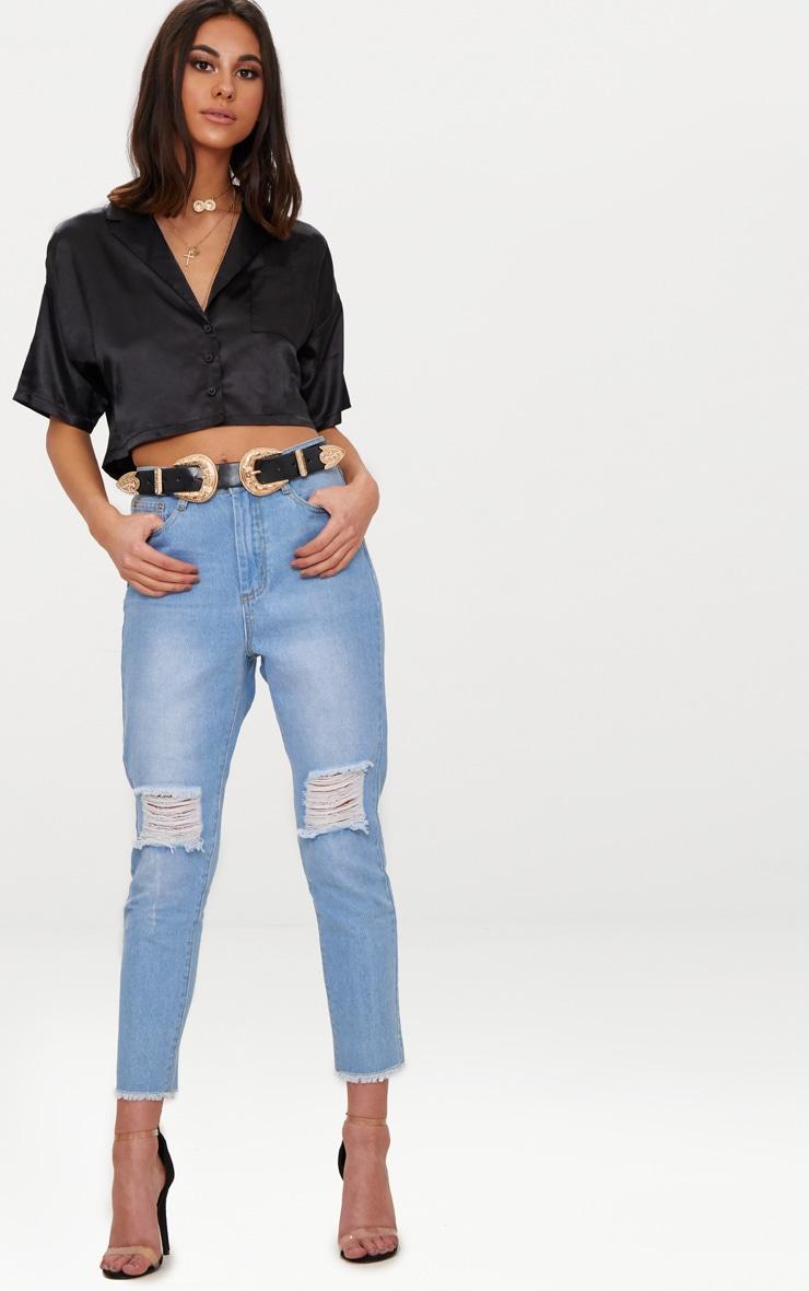 Black Satin Short Sleeve Crop Shirt  4