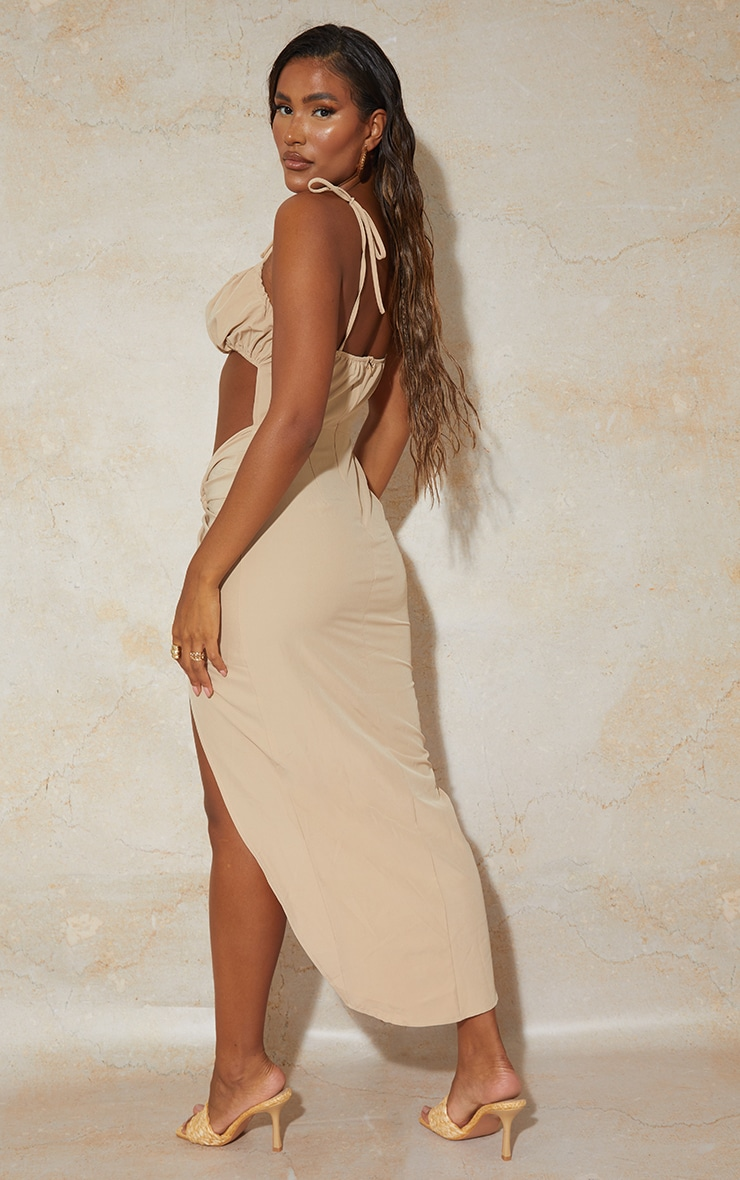 Stone Strappy Cut Out Knotted Skirt Midaxi Dress 2