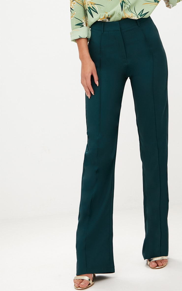 Emerald Green High Waisted Straight Leg Trousers 5