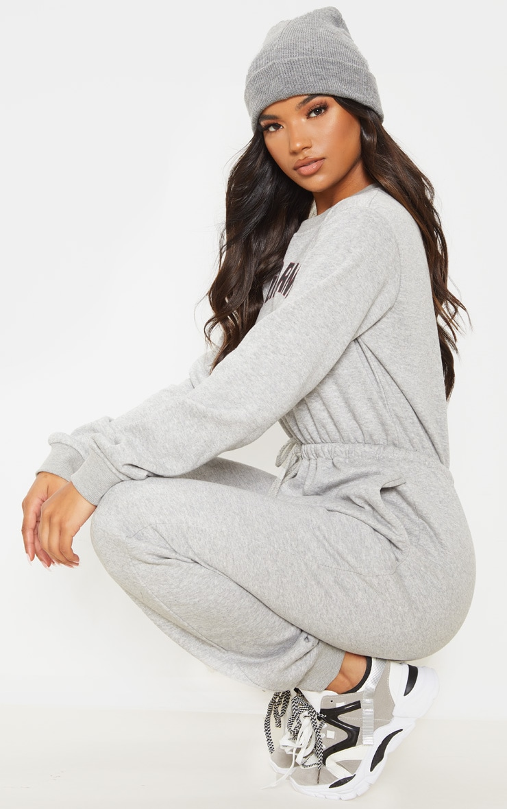 Grey California Long Sleeve Sweat Jumpsuit 2
