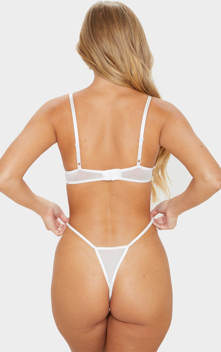 White Cut Out Lace Thong 2