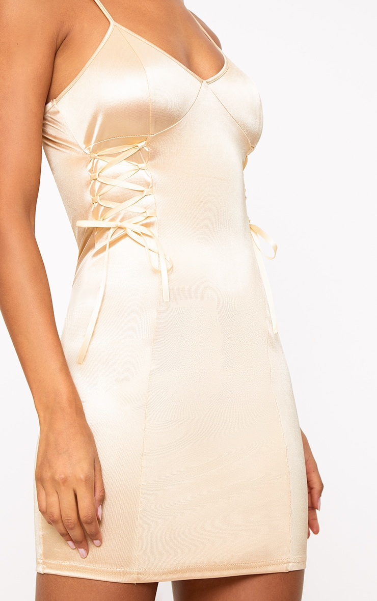 Champagne Stretch Satin Lace Up Bodycon Dress 5