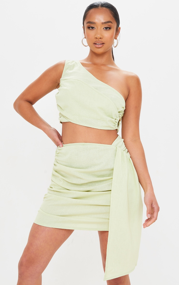 Petite Sage Green Linen Feel Ruched Side Bodycon Skirt 4