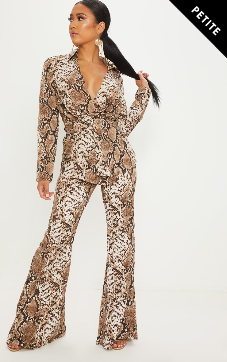 Petite Taupe Snake Print Flared Trousers 1