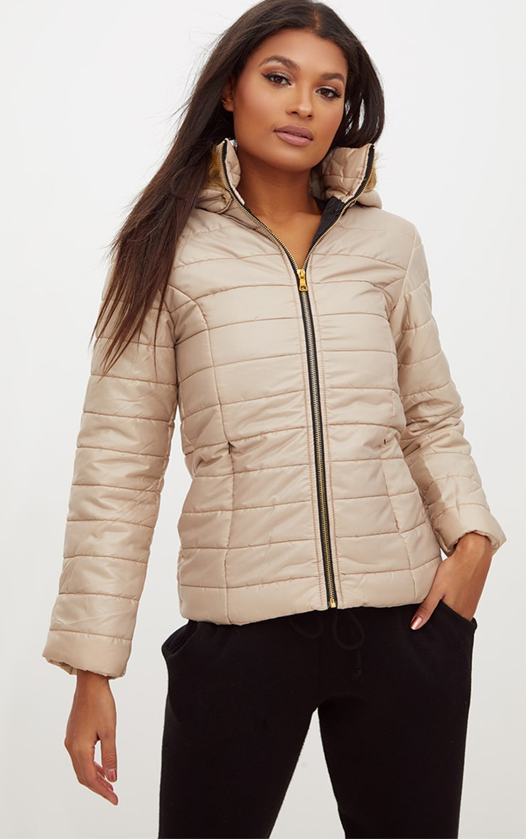 Stone Faux Fur Hooded Puffer Jacket 1