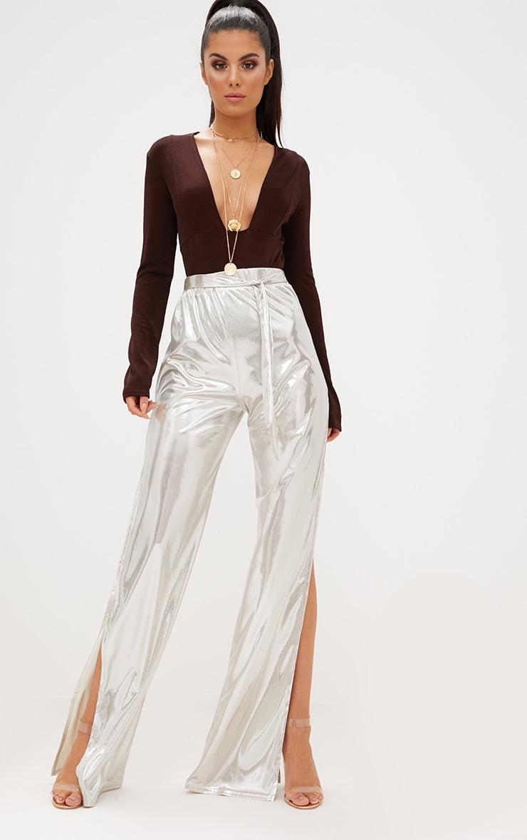Gold Slinky Foil Tie Waist Wide Leg Trousers 1