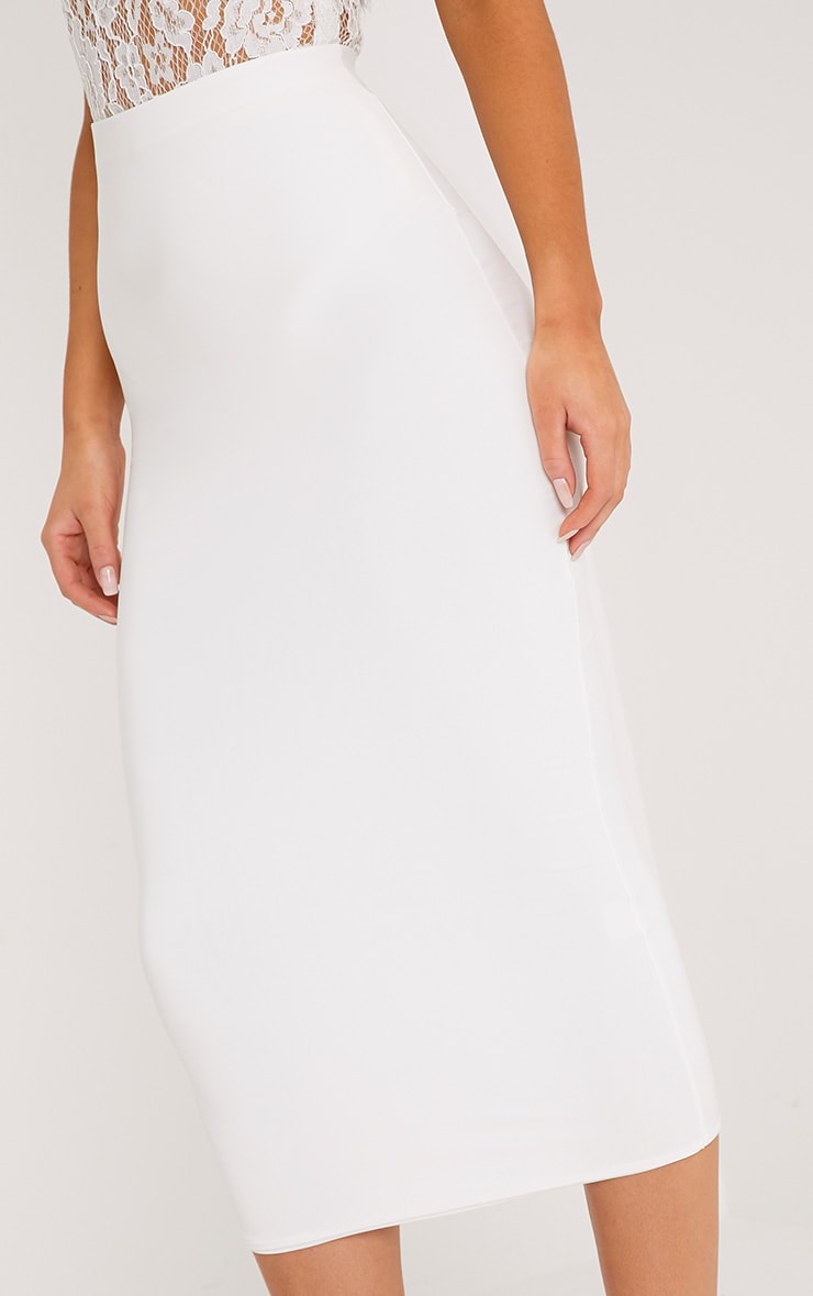 Steffany Cream Slinky Long Line Midi Skirt 5