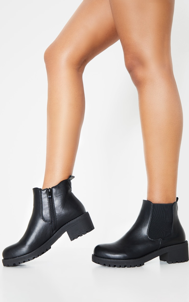 Black Low Heel Cleated Chelsea Ankle Boots 1