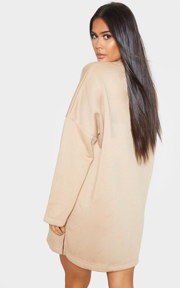Sand Oversized Side Split Sweat Sweater Dress 2