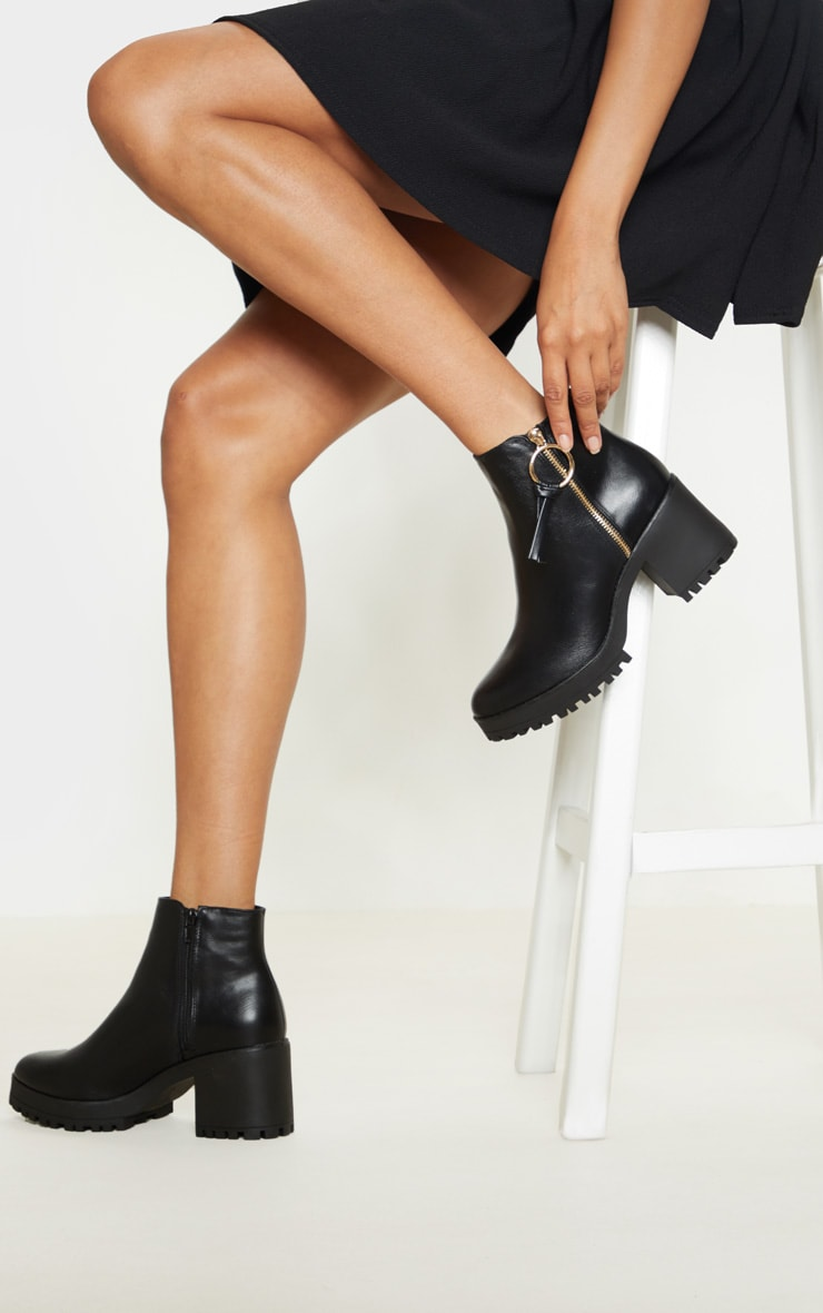 Black Side Zip Chunky Boot 1