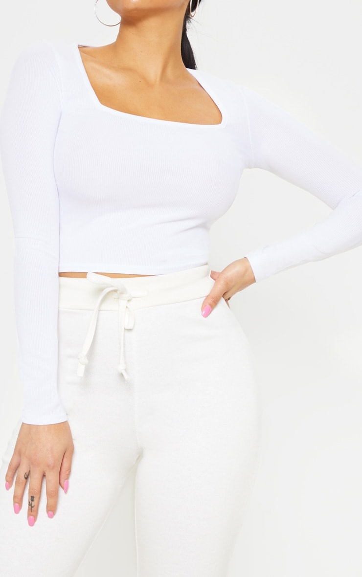 Petite White Square Neck Ribbed Long Sleeve Crop Top 5