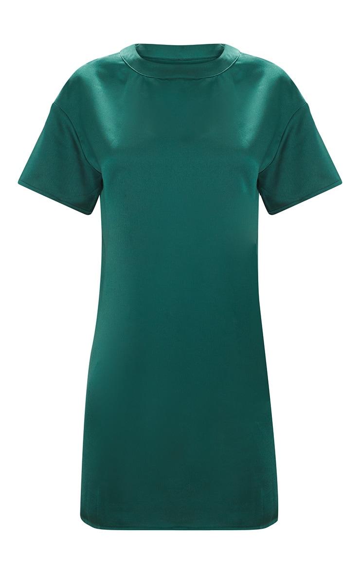 Emerald Green Satin T-shirt Dress 3