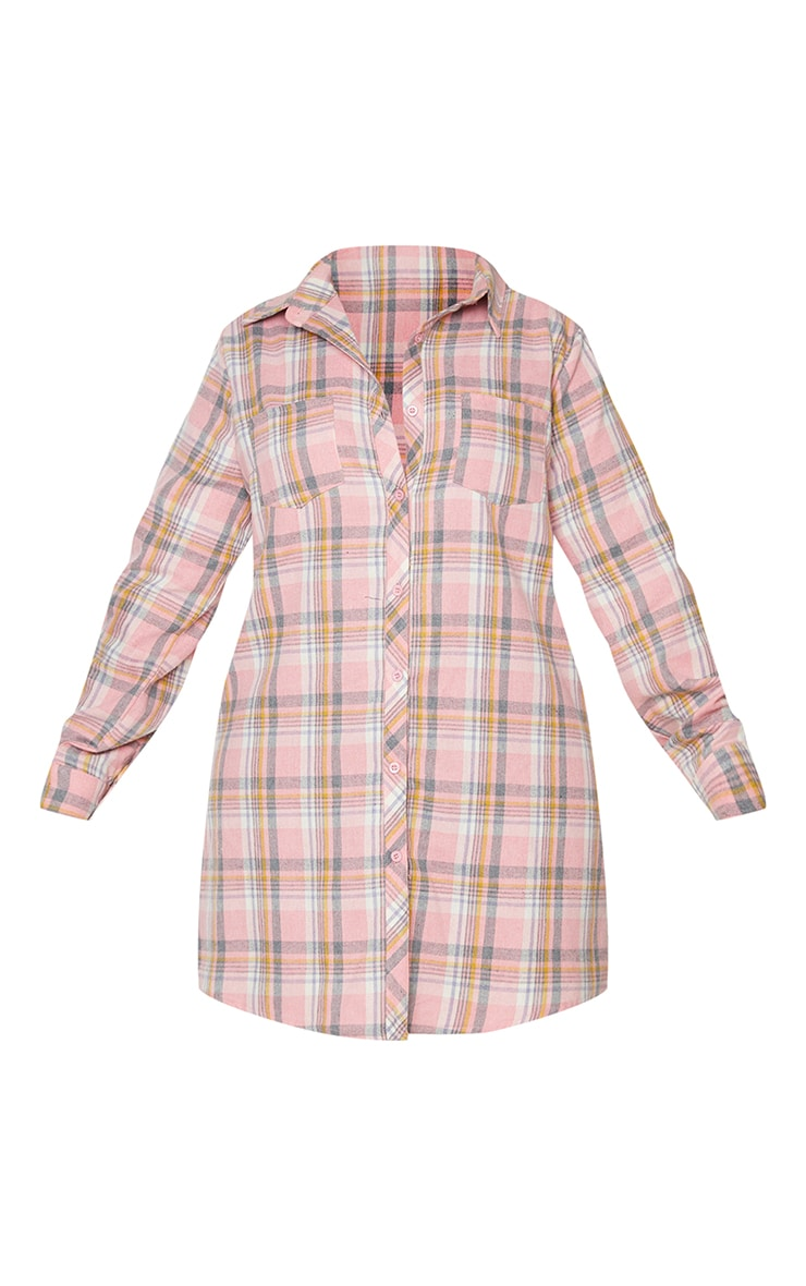 Plus Baby Pink Checked Oversized Shirt Dress 5