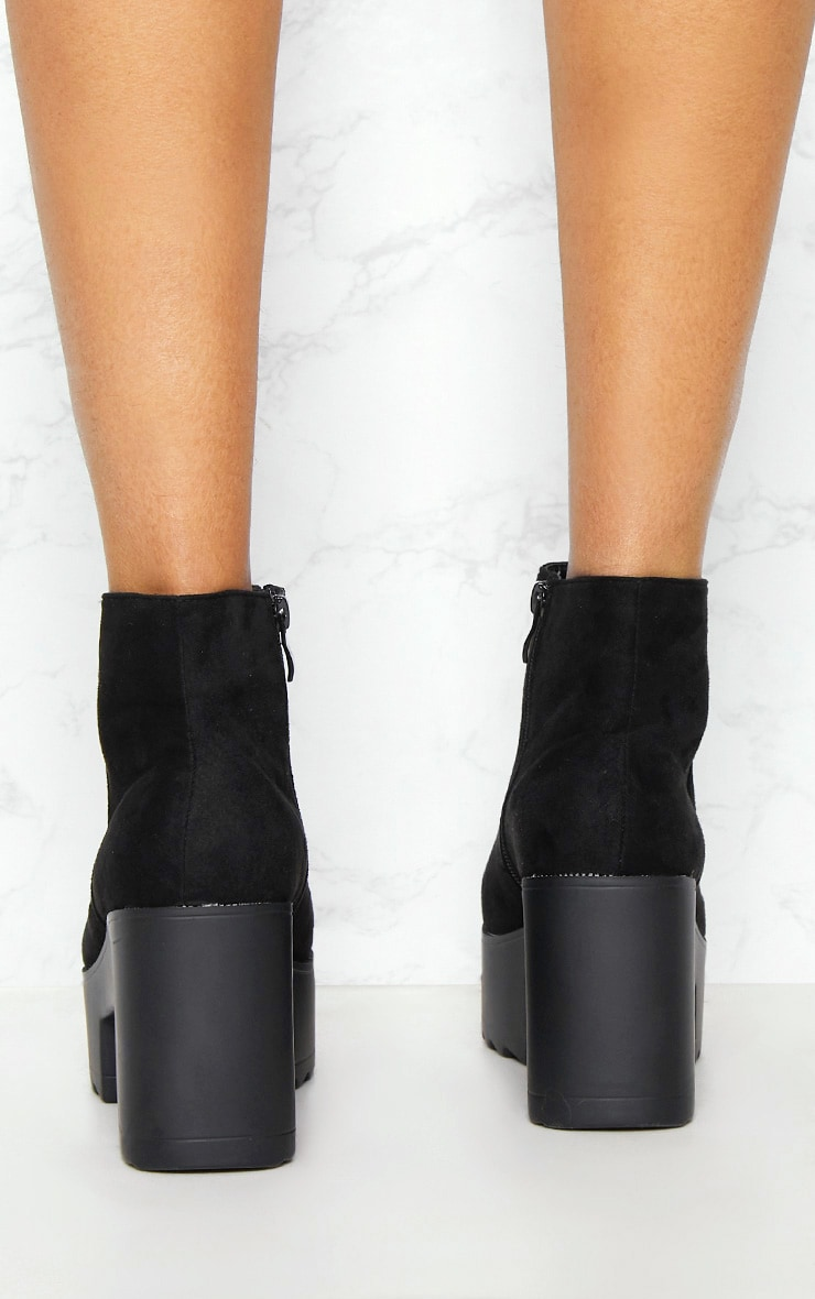 Black Chunky Platform Ankle Boot 4