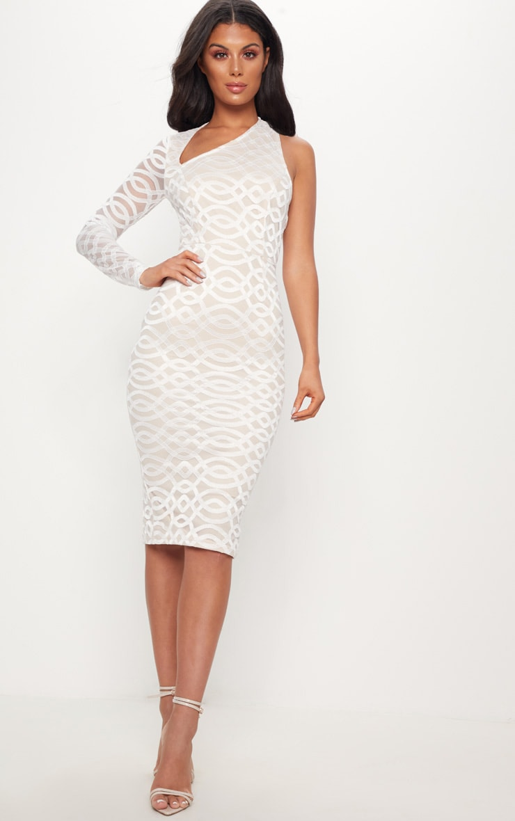 White One Shoulder Lace Midi Dress 1