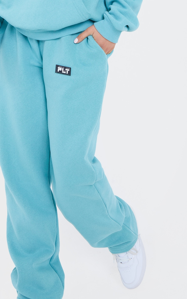 PRETTYLITTLETHING Petite Sage Badge Detail Straight Leg Joggers 4