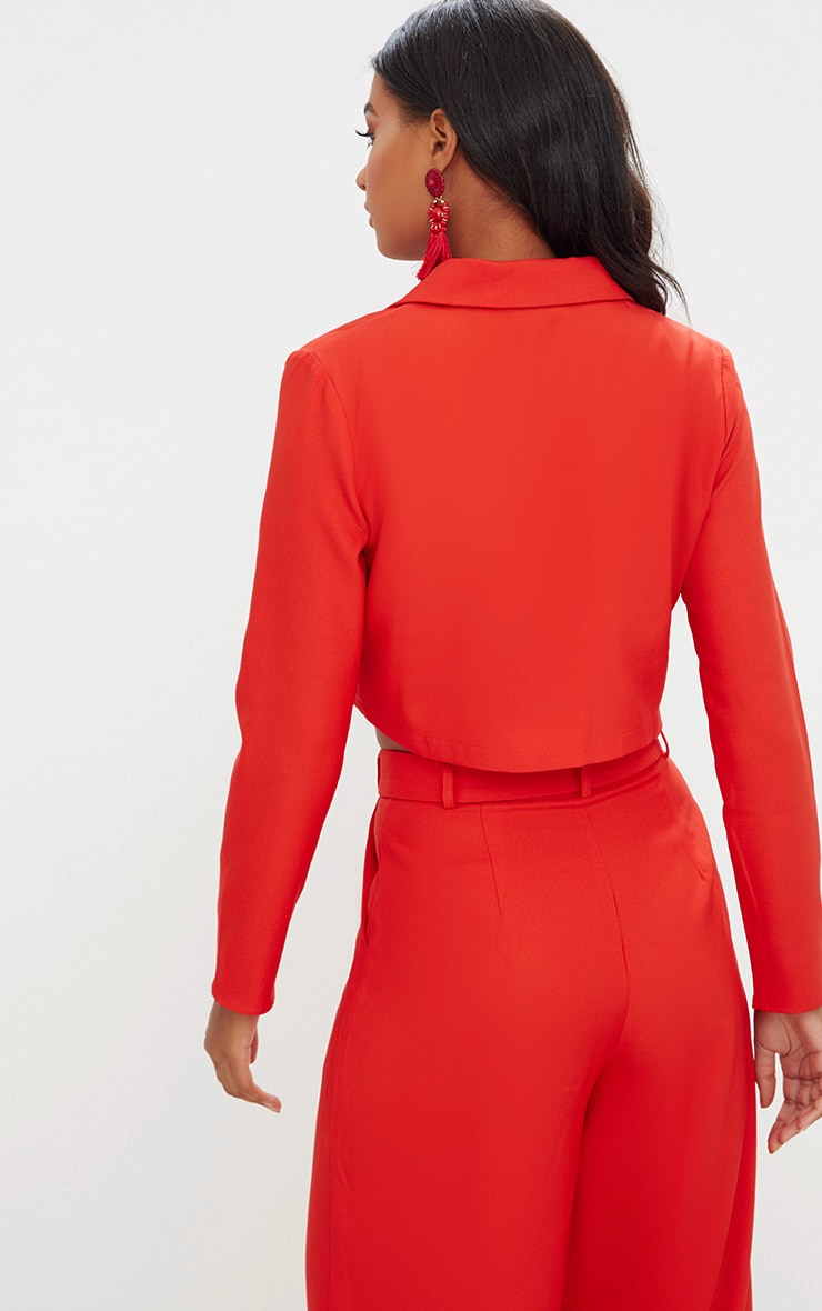 Red Cropped Blazer  2