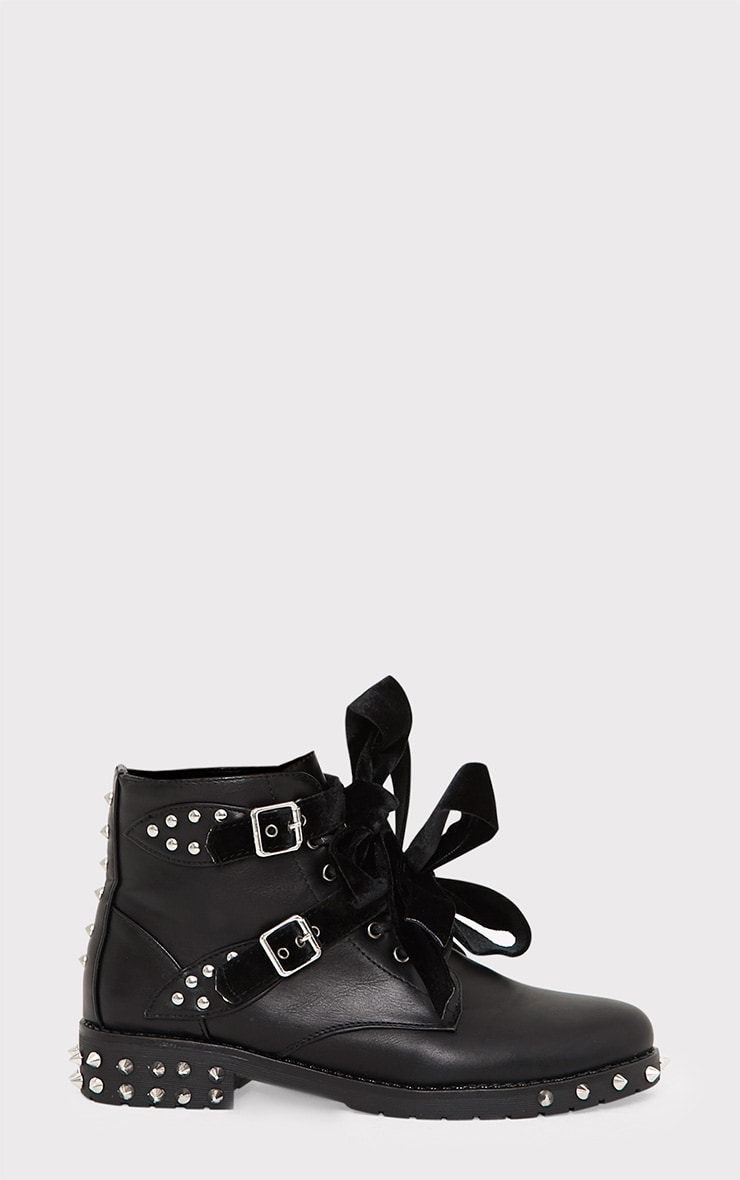 Black Studded Lace Up Ankle Boots  2