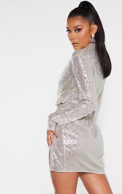 Silver Sequin Embellished Deep Plunge Blazer Style Bodycon Dress