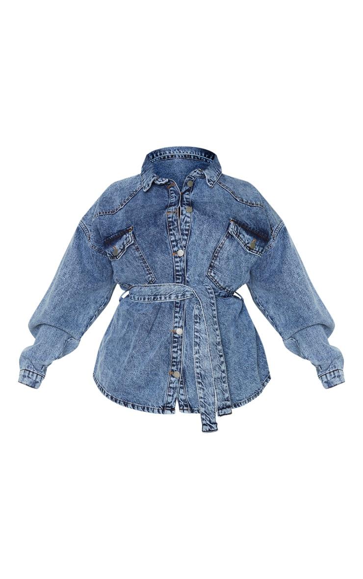 Plus Mid Blue Acid Wash Belted Denim Jacket 3