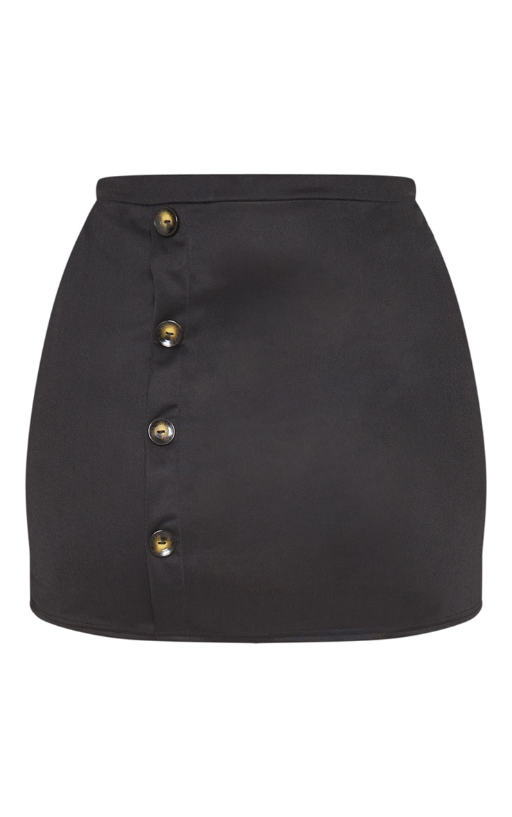 Plus Black Tortoise Button Detail Mini Skirt 3