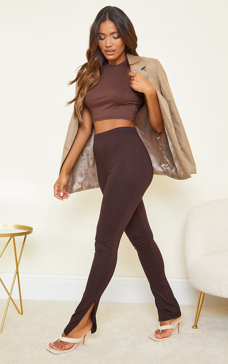 Basic Chocolate Jersey Split Hem Leggings 1