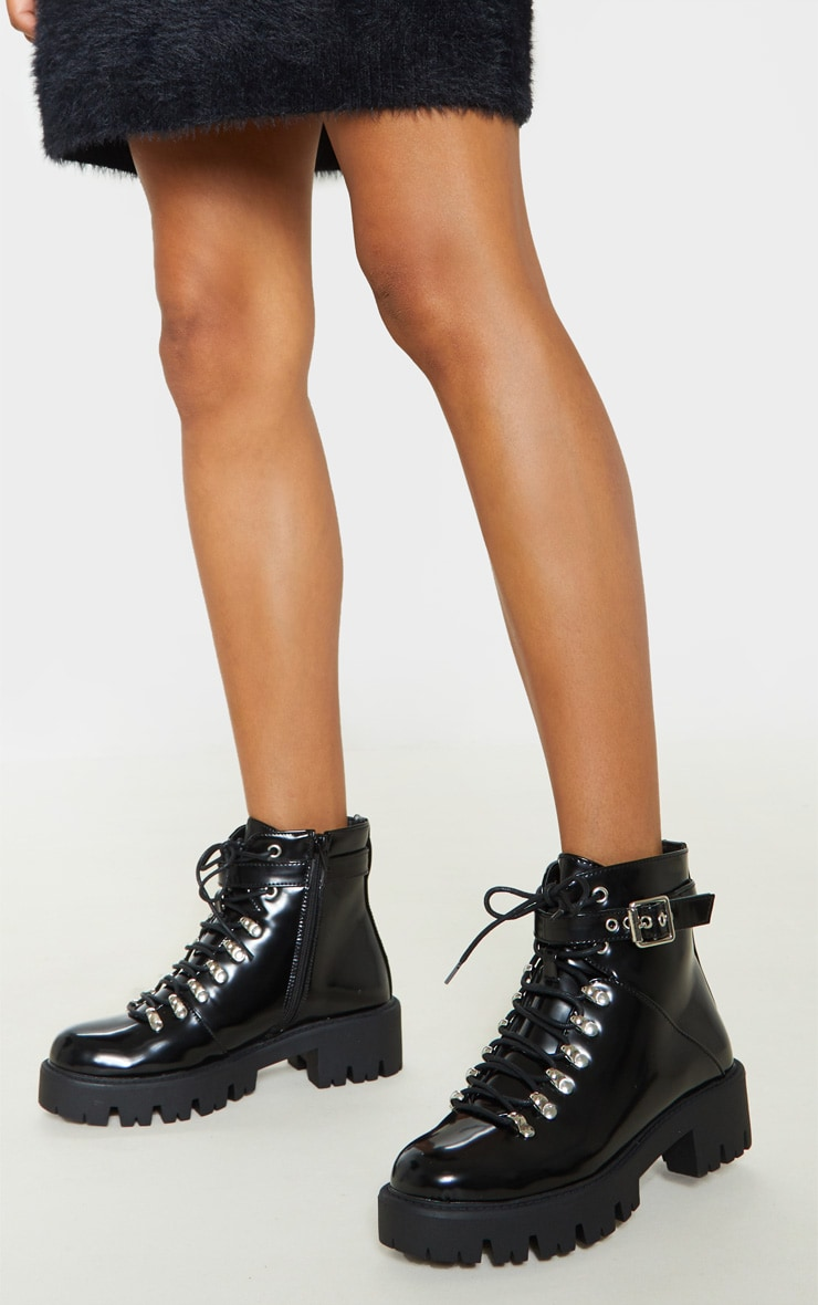 Black Hiker Lace Up Ankle Buckle Boot 1