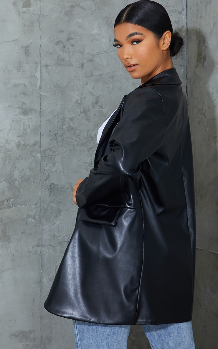 Black PU Pocket Look Double Button Blazer 2