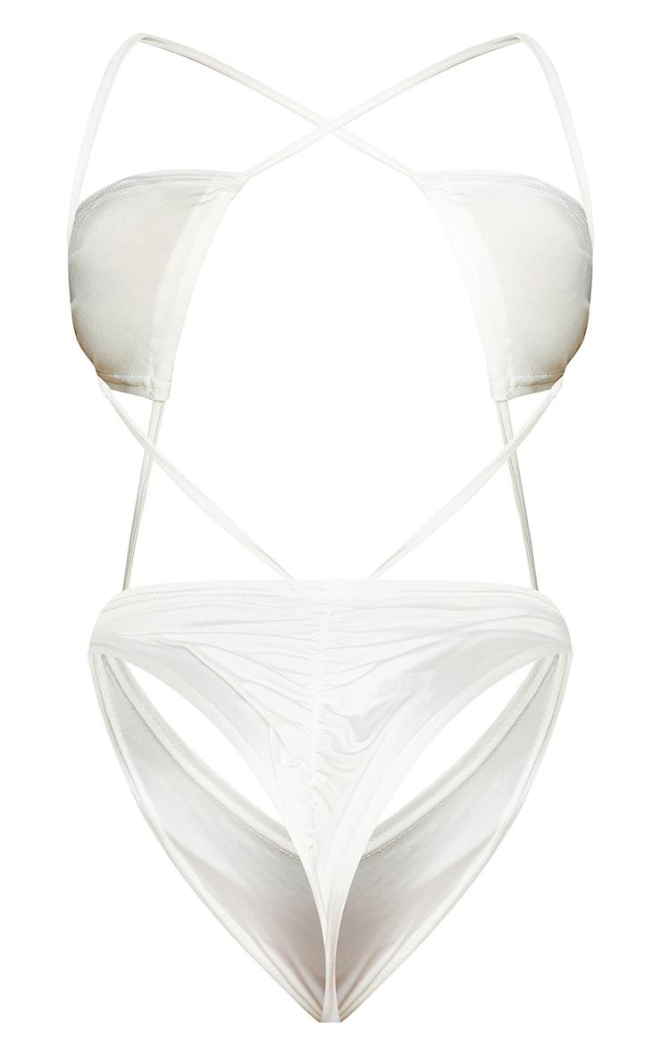 Shape Cream Slinky Ring Detail Cut Out Bodysuit 6