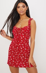 Recycled Red Ditsy Floral Frill Detail Shift Dress 1