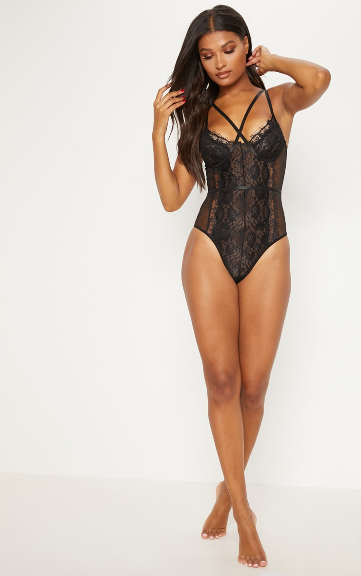 Black Cross Front Mixed Lace Body 5