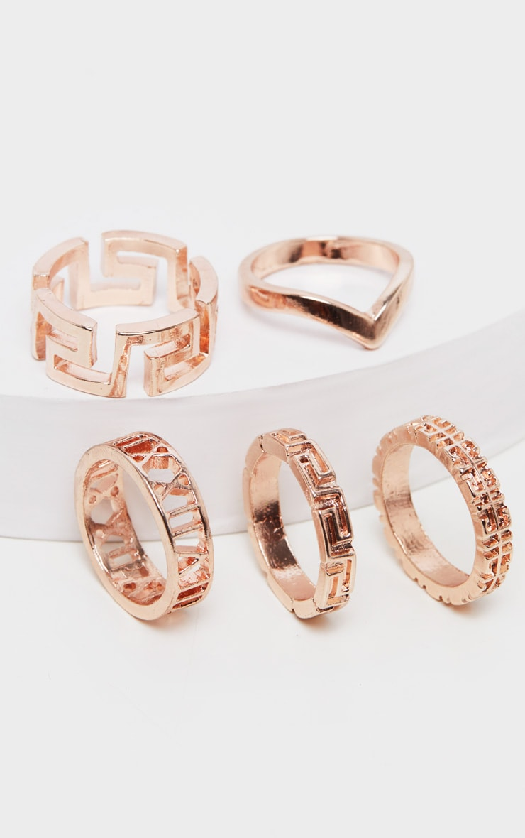 Rose Gold Roman Multi Shape Five Set Ring Pack      2